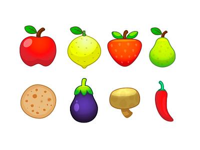 Vegetables, fruits and chapati ❤️ illustration icon fruits vegetables puta parió chili hongo mushroom aubergine berenjena eggplant chapati pear pera frutilla strawberry lemon limon manzana apple