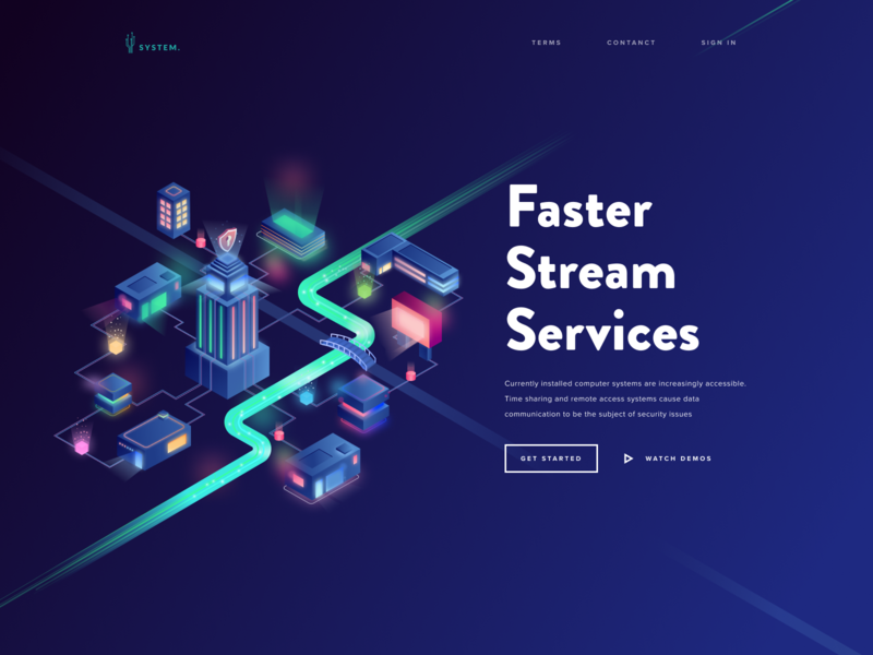 Faster Stream Services crypto currency crypto blockchain secure smart city city page landing isometric vector web design illustration