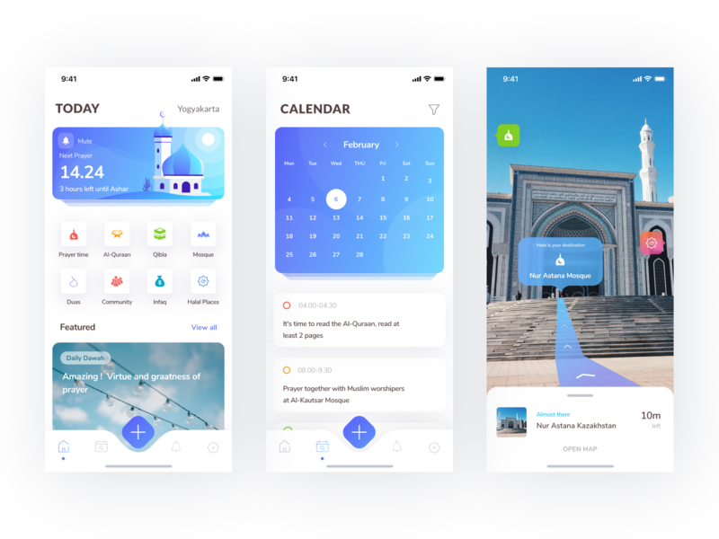 Muslim Mobile App masjid illustration muslim pro muslim design place navigation time app prayer mosque schedule augmented reality ar calendar mobile