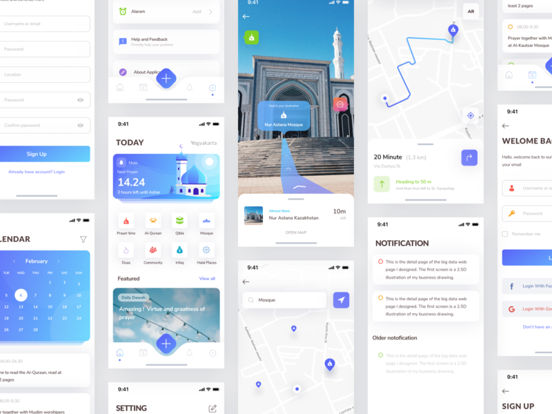 Muslim Mobile App - All Screen profile setting notification login mobile calendar ar augmented reality schedule mosque prayer app time navigation place design muslim muslim pro illustration masjid