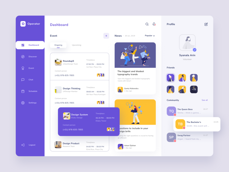 Event Dashboard ux ui discover purple meetup management illustraion interface news schedule profile community design event uidesign dashboad