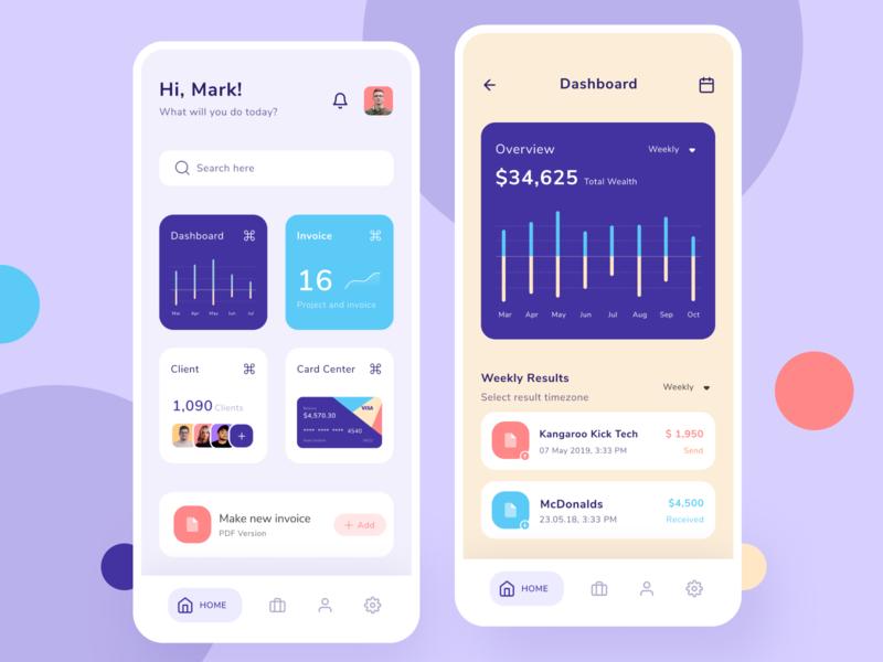 Invoice Application finance pay send bussiness uiux card chart graph bills money dashboard mobile invoice design app