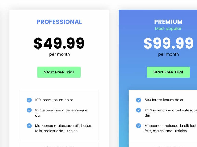 3 different pricing table styles