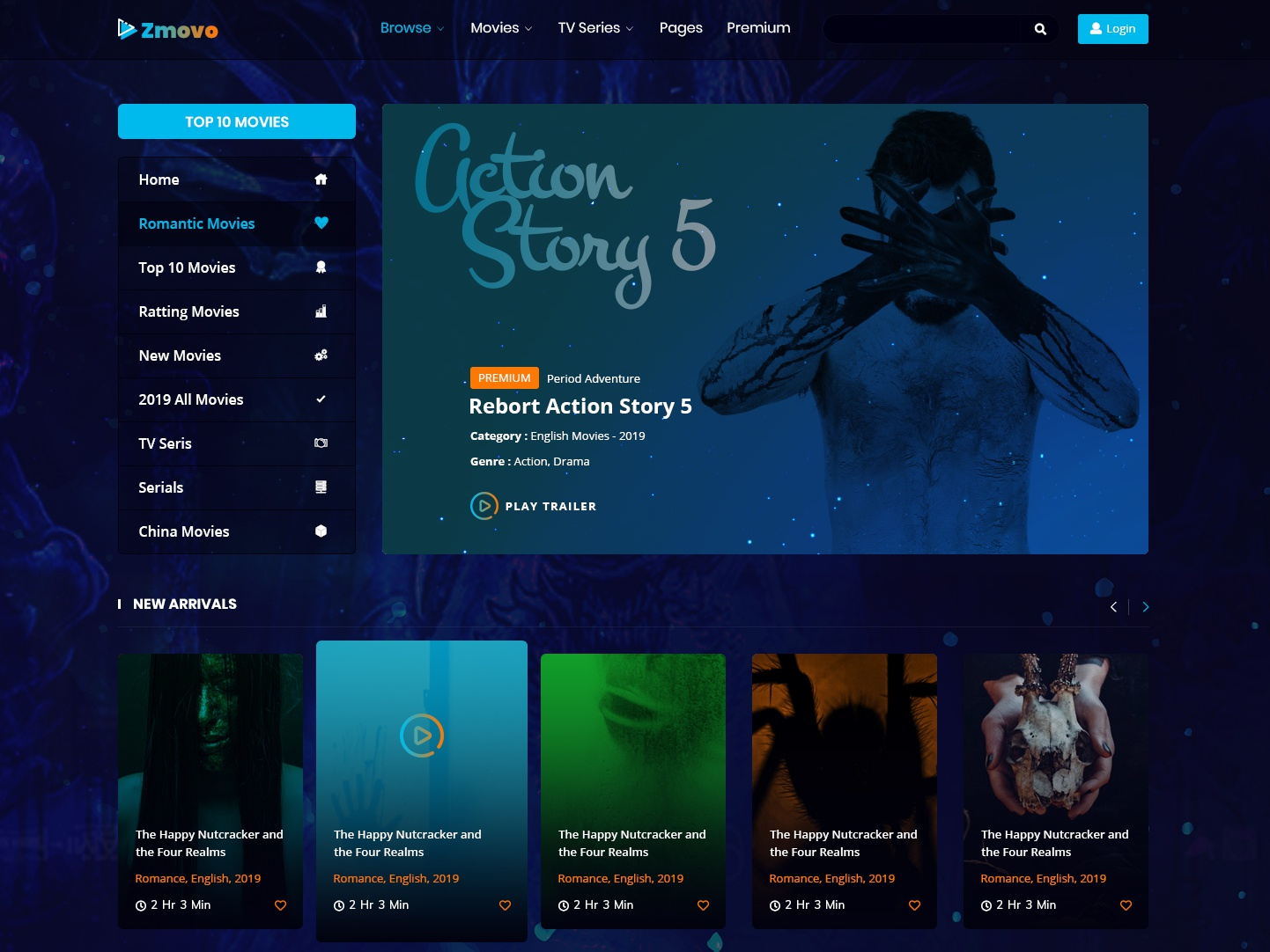 Online Movie, Video & TV Show PSD Template by Towkibur