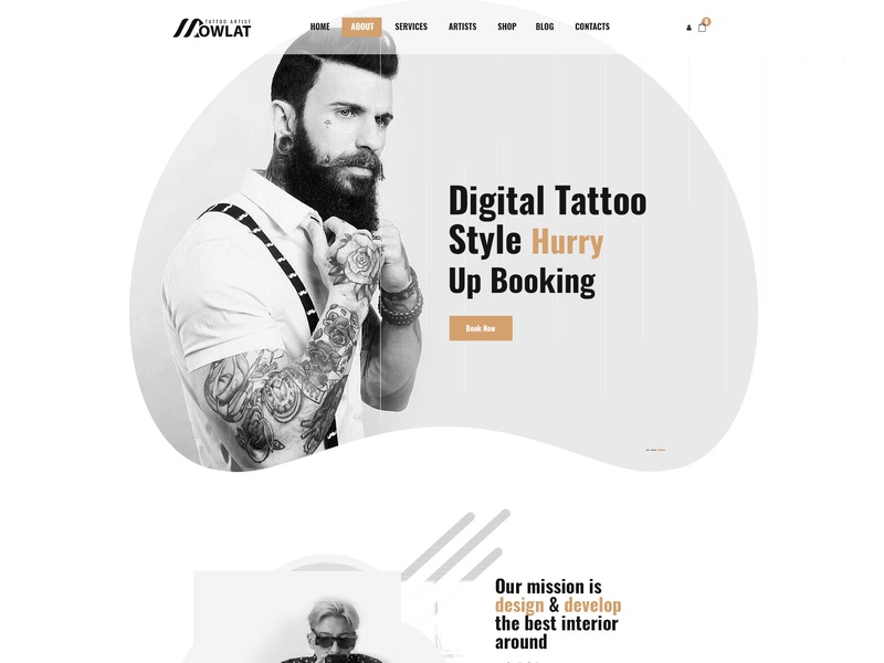 Inkd, Tattoo PSD Template tattoo studio single page piercing inked ink hipster body art artistic artist