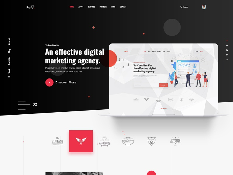 Rafo - Digital Agency PSD Template studio seo retail portfolio modern marketing gradient digital design creative corporate business blog agency