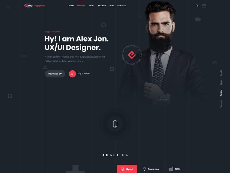 Single Freelancer Home page vcard responsive programmer portfolio personal one page minimal html freelancer designer cv creative
