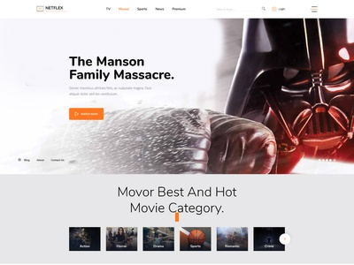 Online Movie,Vedio and TV Show PSD Template watch tv show tv template serials responsive online movie film marketing film campaign film clean business blog agency