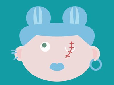 Blue is the warmest color lips design cartoon scar girl character blue
