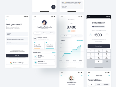 Team Management App Concept — 1 leader money management team progress to-do singup graph data visualization profile amount salary money data design ui clean