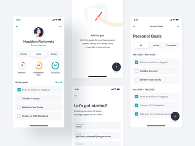 Team Management App Concept — 2 avatar profile illustration goal goals fab to-do donut chart data clean ui clean team management money leader