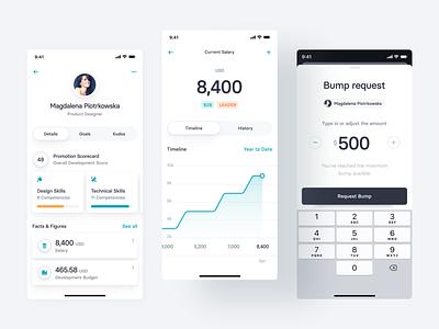 Team Management App Concept — 3 bumper leader management team budget skills graph amount bump salary profile money