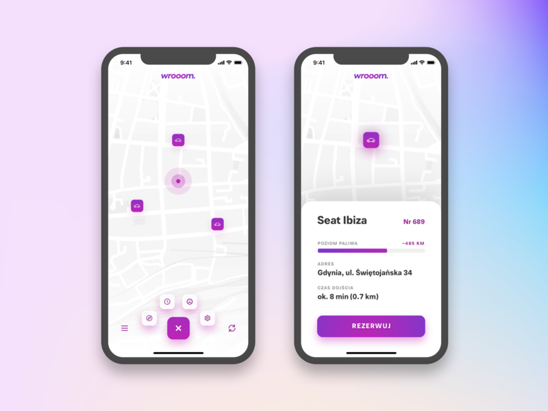 Carsharing UI clean gps map app carsharing car purple