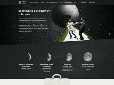 Ecommerce Development Solutions page @ the.gt (our own website) landing page studio agency web development ecommerce