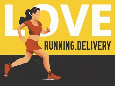 Running Love ecommerce concept drawing illustration running