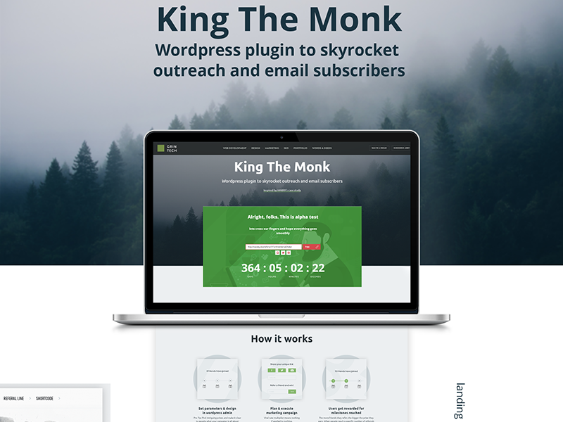 king the monk - wordpress plugin for viral giveaways software marketing landing page viral plugin wordpress