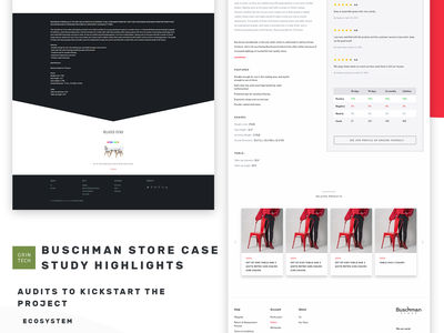Buschman Store Redesign - Product Page shopify before and after furniture store online store ecommerce agency