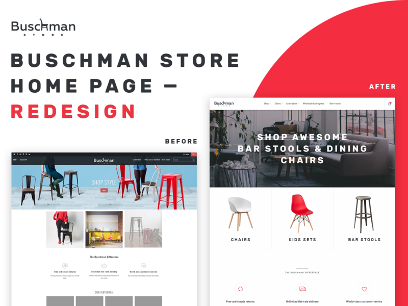 Buschman Store Redesign - Home Page furniture store furniture store shopify corporate ecommerce agency