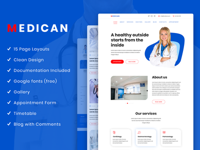 Plain Medical PSD Template business landing page creative market psd template corporate medicine medical