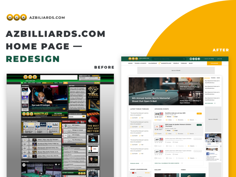 Azbilliards Redesign Sneak Peek - Home Page sneak peek billiards billiard corporate news sports before after redesign