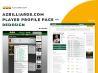 Azbilliards Redesign - Player Profile redesign before after sports news corporate billiard billiards sneak peek
