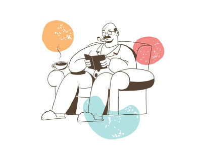 Armchair Father — Press House line art color coffee character raster photoshop branding design drawing illustration