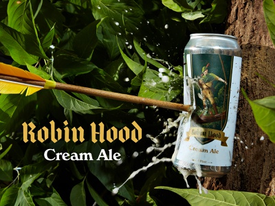 Robin Hood Cream Ale retro classic photography product photography beer packaging vector character raster illustrator photoshop branding design drawing illustration
