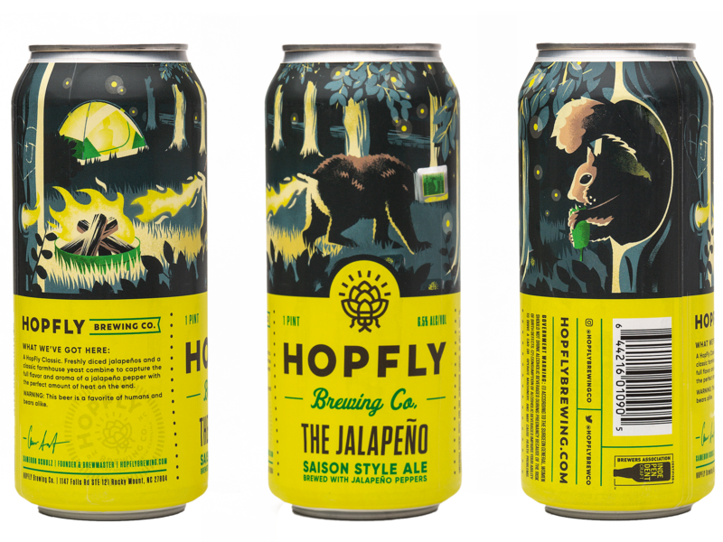 The Jalapeno - Hopfly Brewing can art packaging brewing beer typography illustrator photoshop illustration branding design