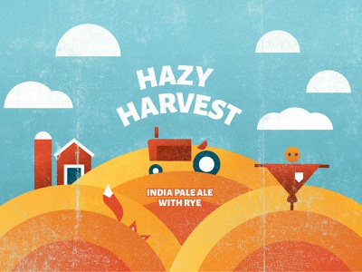 Hazy Harvest Label packaging photoshop raster vector illustrator branding drawing illustration design