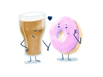 Coffee Donut and Beer branding character photoshop raster design drawing illustration