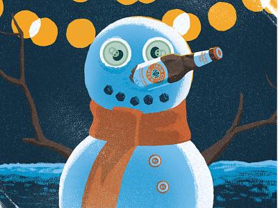 Iron City Snowman social media branding beer texture raster photoshop illustration christmas drawing
