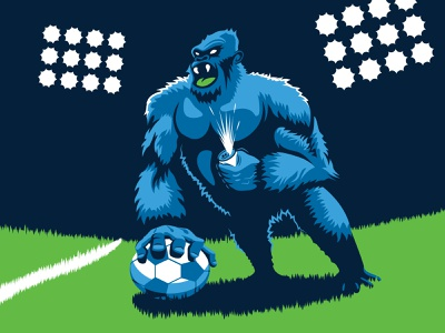 Gorilla Juice Illustration mascot team illustrator label beer football soccer monkey gorilla animal sports illustration vector