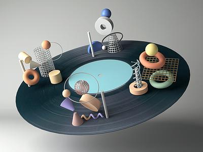 Vinyl Record maya space music color vinyl shape arnoldrender animation texture record glaxy illustration geometric arnold 3d
