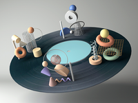 Vinyl Record maya space music color vinyl shape arnoldrender animation texture record glaxy illustration geometric arnold 3d