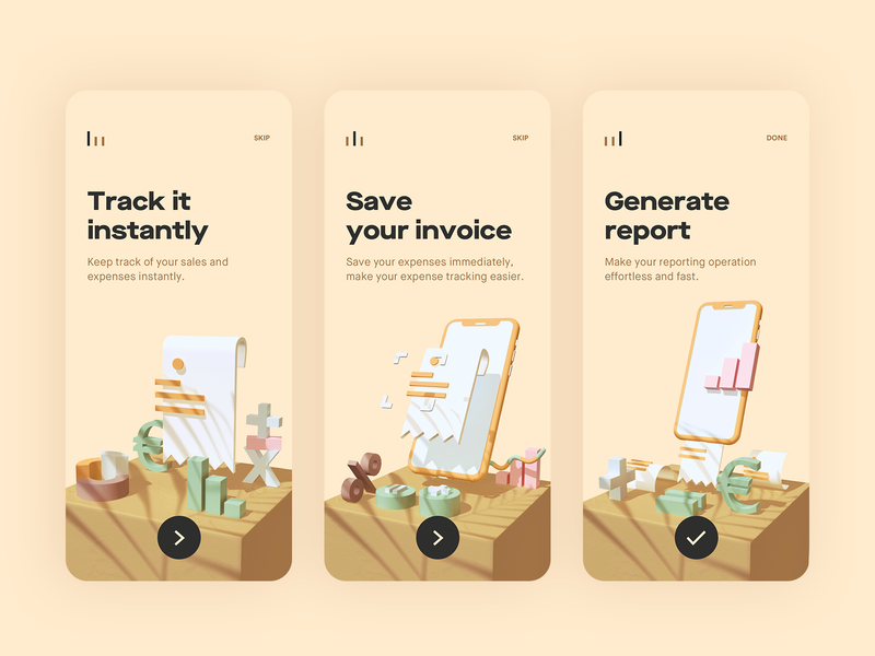 Onboarding Finance App ux  ui userinterface ui design ux ui arnoldrender billing bill invoice finance onboarding screen mobile color onboard onboarding maya illustration geometric arnold 3d