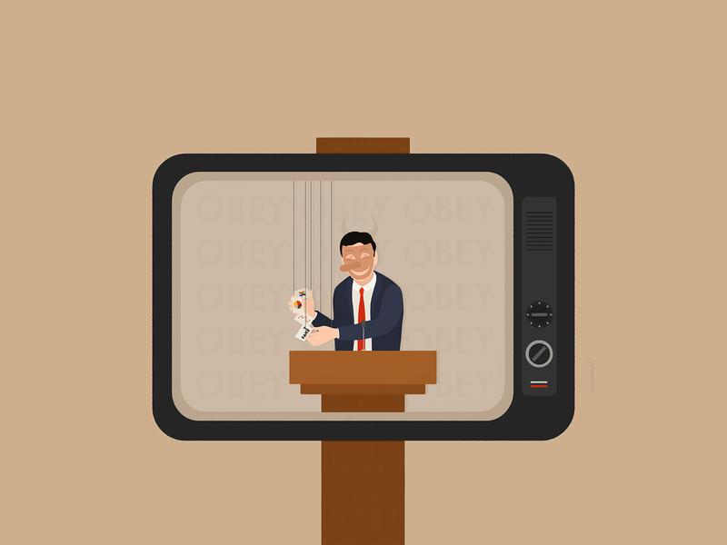The Hammer of Propaganda 2020 solowski solowski tv propaganda politics editorial illustration editorial visual communication illustration