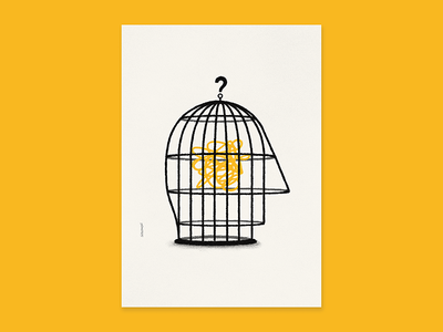 «The Only Limit Is Your Head» visual communication head cage poster plakiat graphics print illustration design art