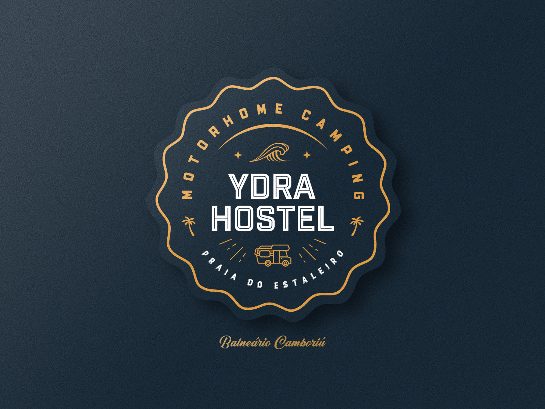 Ydra Hostel - Motorhome Camping label logo graphic design brand