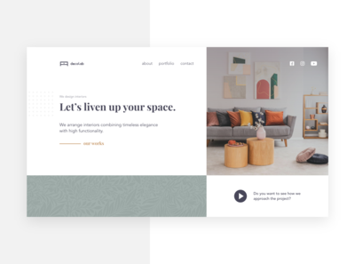 Landing page for interior design company