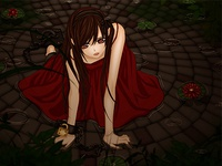 Girl on the floor  ,Beautiful Drawing Anime , Red dress