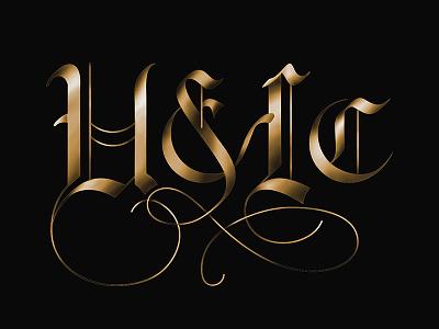 Upper & Lowercase lcad logo calligraphy custom typography traditional illustration flourishes brand black letter lettering design