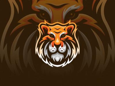 Tiger trendy zoo jungle leader head face source editorial mascot gradient esport animal modern symbol design simple mark icon logo