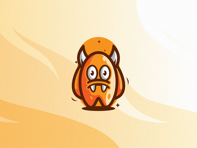 Yellow Mons. unused character cute monster yellow illustration modern symbol design simple icon mark logo
