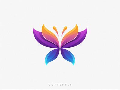 Betterfly animal logo fullcolor gradient butterfly animal identity flat branding modern symbol design simple mark icon logo