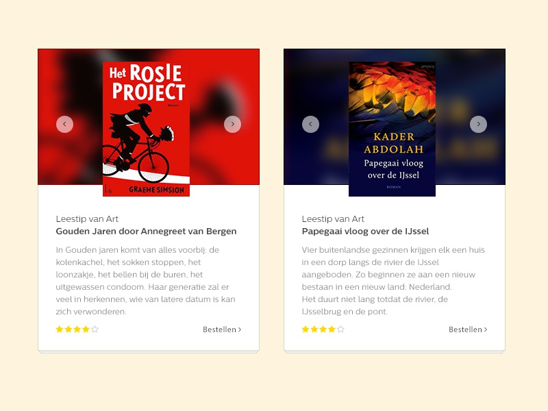 Book store widgets ui