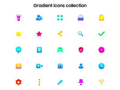 Gradient icons collcetions ui iconography gradient design vector app icon