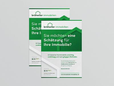A4 flyer Brühwiler Immobilien flyer swissmade immobilienbewertung immobilien corporateidentity corporatedesign brandingdesign branding