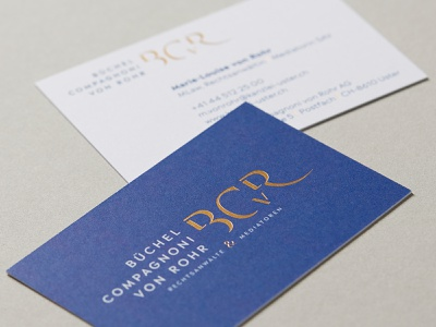 Business Cards BCvR exclusive swiss duplex foil stamping embossing corporate design business card