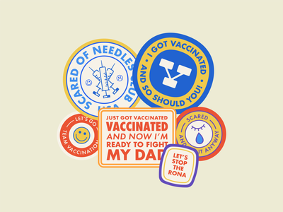 GET VACCINATED vaccinated sticker art sticker pack freelance design logo badge badges badge hunting badge design stickers sticker design typography vector design logo graphic design