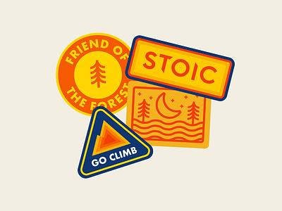 Stoic Badges outdoor apparel outdoor brand camp logos camp badges badges stickers design freelance illustration graphic design apparel design badge design sticker design